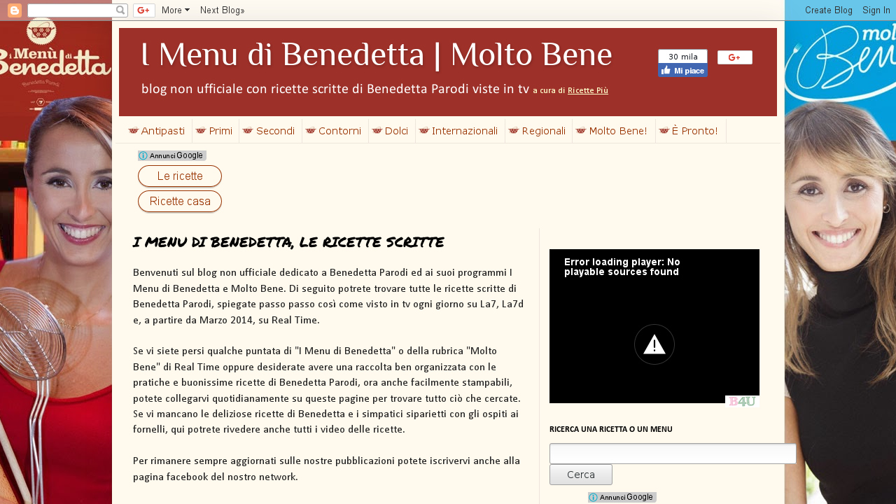 I Menu di Benedetta, le ricette scritte