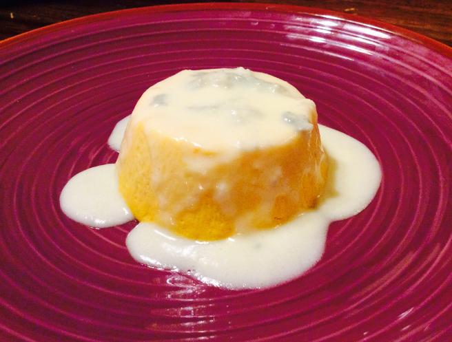 Flan con zucca gialla su fonduta al gorgonzola