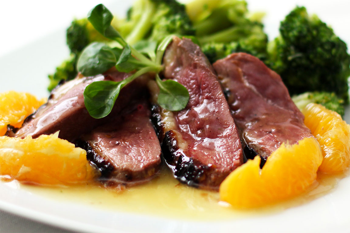 Duck breast with honey-orange
