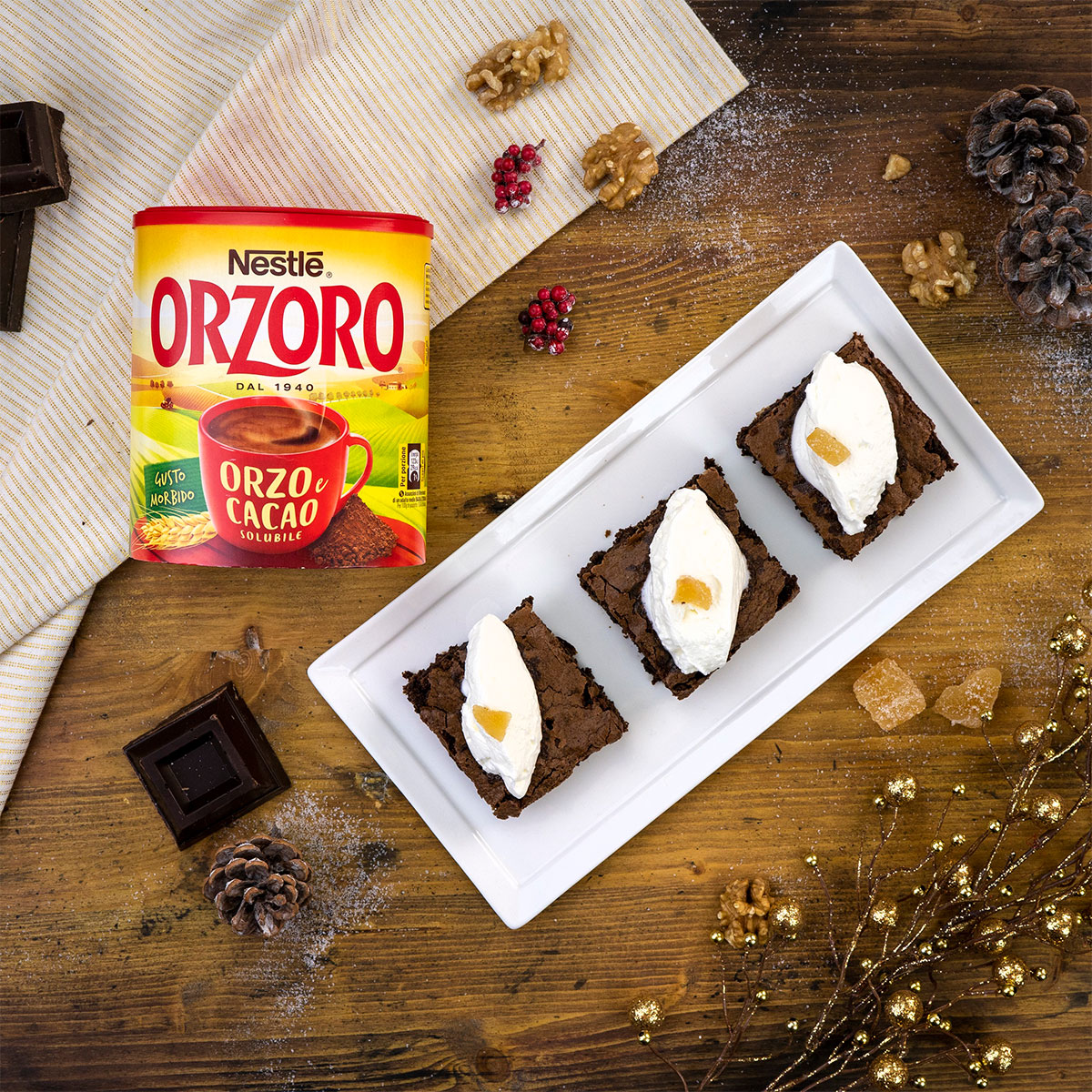 Brownies con Orzoro e zenzero candito