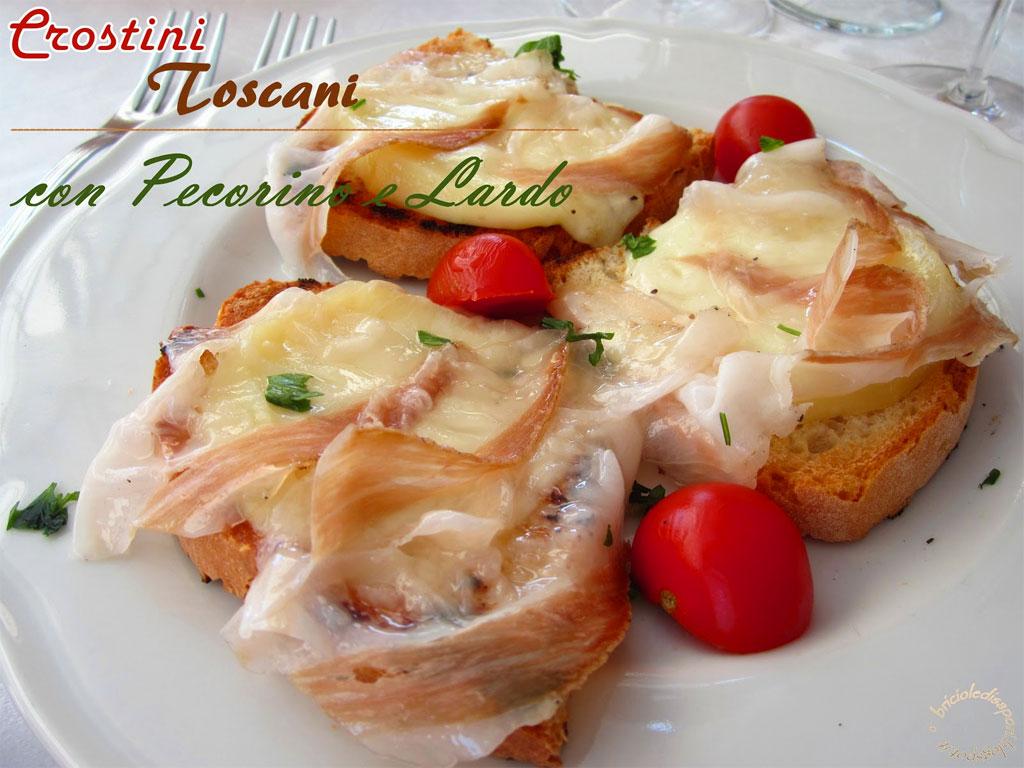Crostini con pecorino e lardo