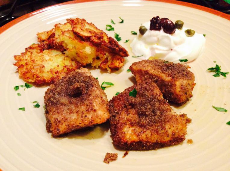 Tranci di salmone al gratin con crespelle di patate e for Cucinare yogurt greco