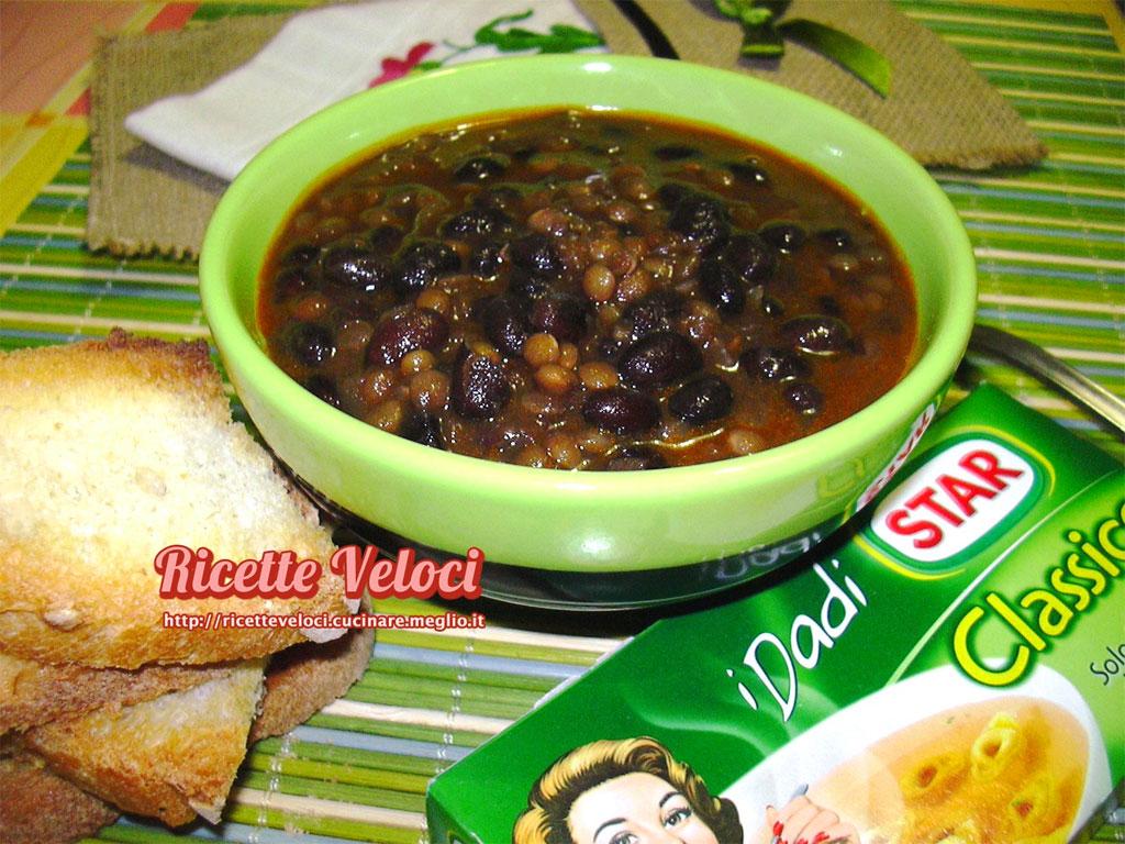 Zuppa di fagioli neri e lenticchie